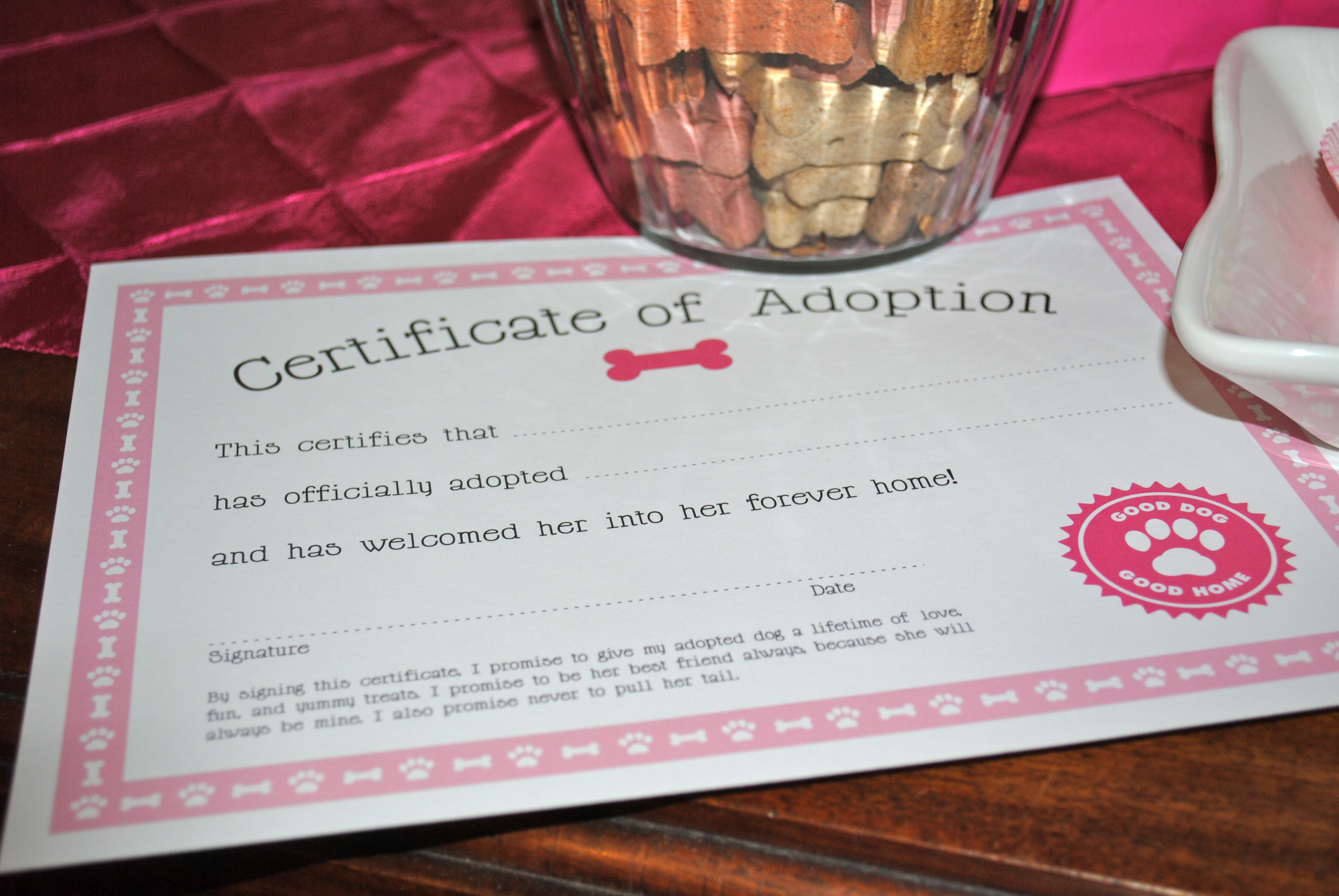 graphic about Pet Adoption Certificate Free Printable titled My Get-togethers: Pet Adoption Social gathering + Cost-free Printable versus Chickabug