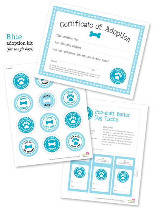 my parties dog adoption party printable from chickabug